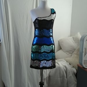 Fab sequined one shoulder dress, sz Large